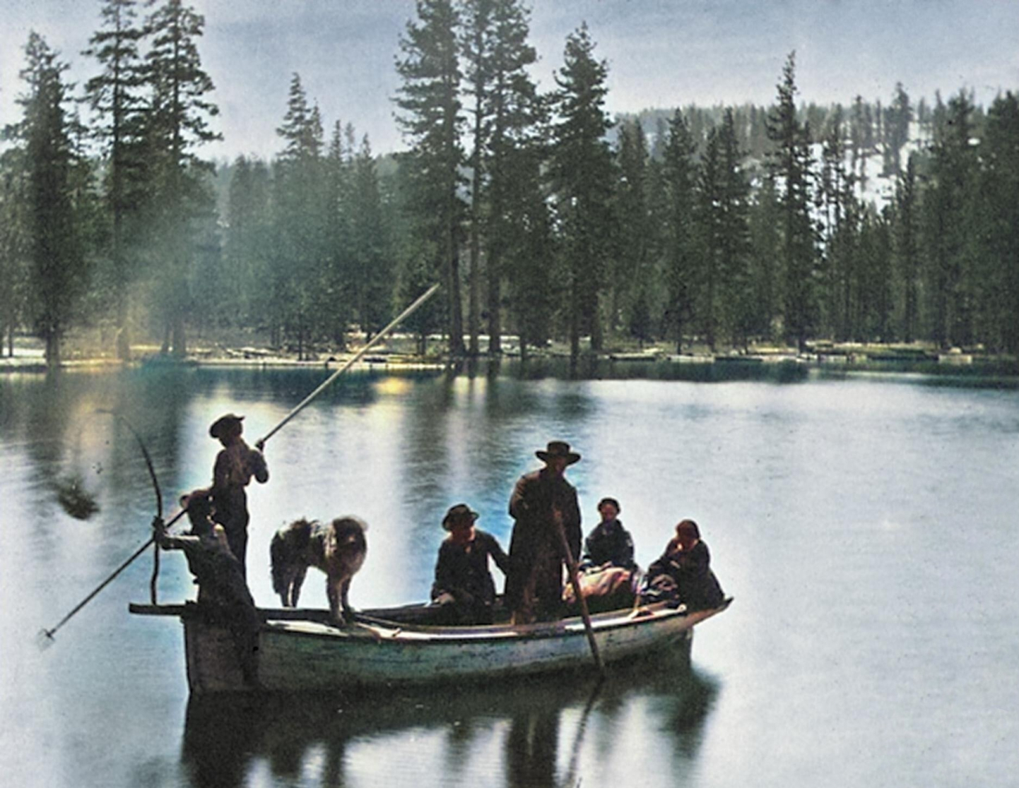 gallery/1866 torchlight fish spearing donner lake colorized